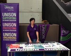 UNISON Stall at Manchester Metropolitan University.  Supporting, Protecting and Organising in Higher Education.
