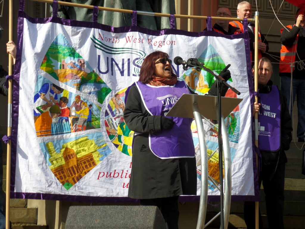 """Rena Wood from Manchester Branch: """"It was the bankers who caused the economic crisis, not us.  We need our public services and we're worth it."""""""