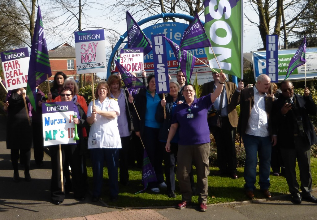 NHS staff at Fairfield Hospital in Bury highlight unfairness in pay.  MPs get 11% while NHS workers are denied even 1%.