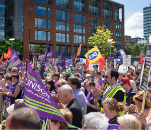 The rally in Manchester today.  Up to 5,000 people from the six striking unions and members of the public showed their support for fair pay.