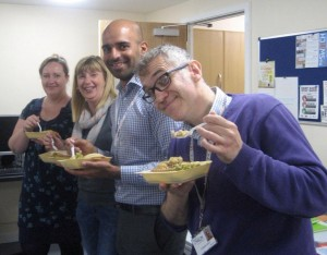 Digital Champs Enjoying A Well-Earned Pie At The Event