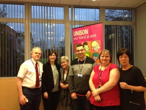 UNISON members with Lucy Powell, MP for Manchester Central and Kate Green, MP for Stretford and Urmston