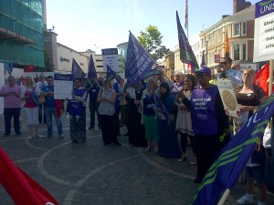 UNISON members at the rally in Blackburn.