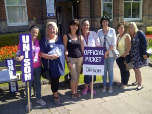 On strike for fair pay at St Helens Town Hall.