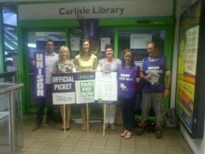 Carlisle library was closed today as members took action on pay.