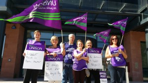 Cheshire West and Chester members on strike today.