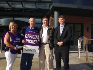 Chris Mathieson (Labour Parliamentary Candidate for Chester) and Justin Madders (PPC for Ellesmere Port and Neston and lEader of the Labour group) join the picket line in Chester