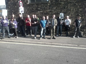 Big picket in Accrington.  Out to win.