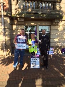 Lancashire County Council pickets in Preston.