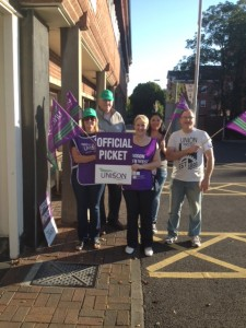 Pickets at West Lancs Council Offices.