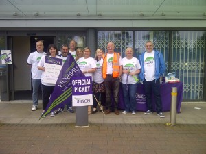 'We are worth more than 1%.  Fair Pay Now.'  Pickets in Sefton.