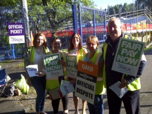Pickets at Hurst Knoll School in Ashton.  The school is closed for the day as staff take action for fair pay.