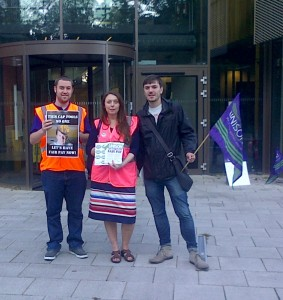 Early morning picket at Trafford Town Hall.