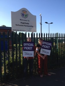 Pickets at Highfields School in Stockport.