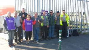 Thumbs up for the strike by Wyre Council street cleansing workers gathering at the gates of the Fleetwood depot.