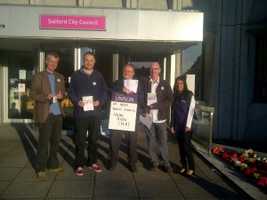 Early morning pickets at Salford Civic Centre.