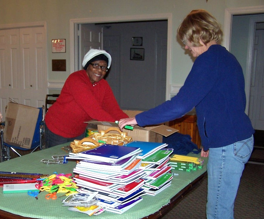 Assembling CWS School Kits at United Church of Spring Valley, N.Y.