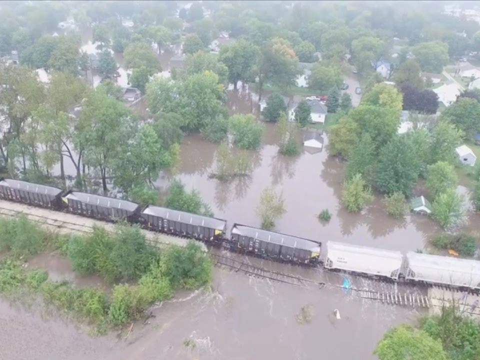 Aerial photo of flooding near Clarksville, Iowa, Sept. 23.  U.S. National Weather Service photo