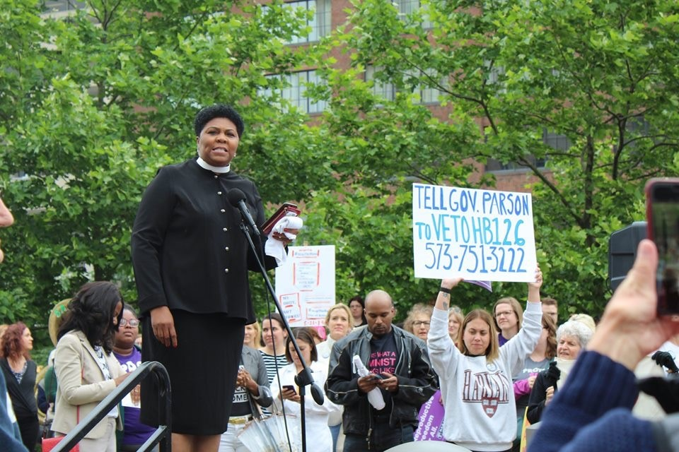 Traci Blackmon speaks in St. Louis, May 21, 2019