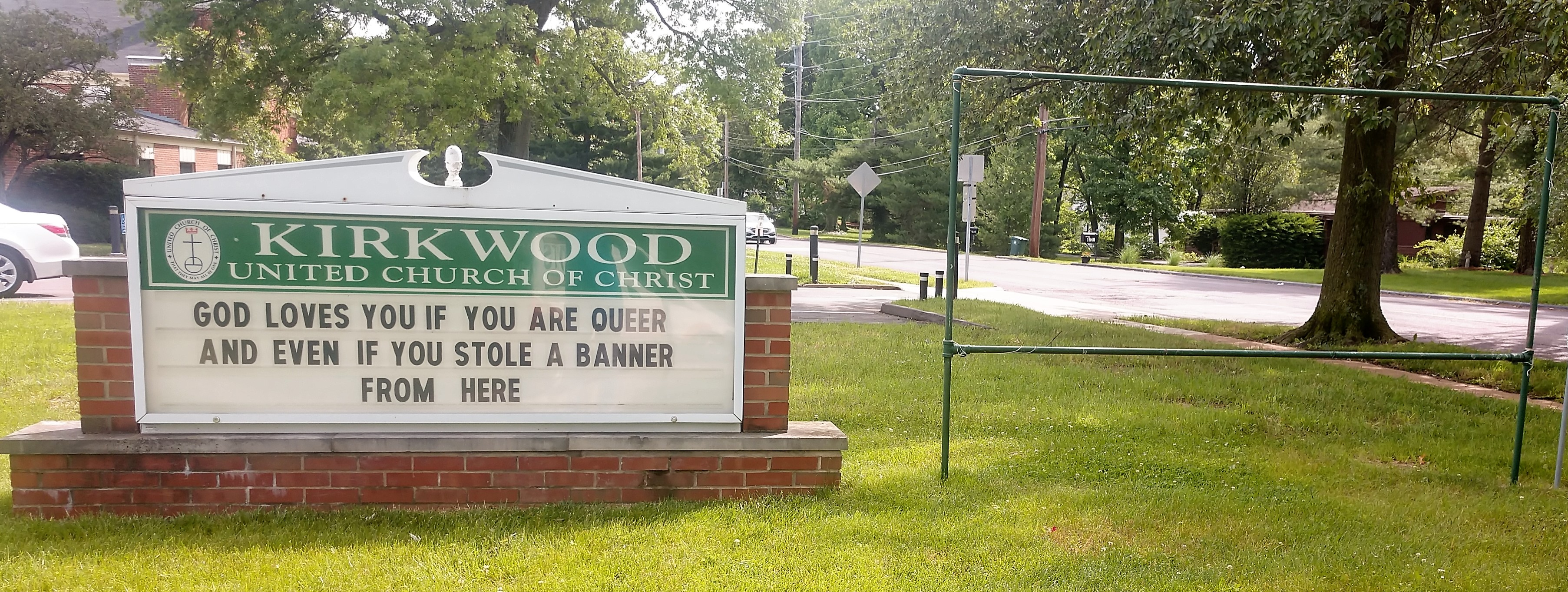 Kirkwood (Mo.) UCC sign board and banner frame, 6/6/19