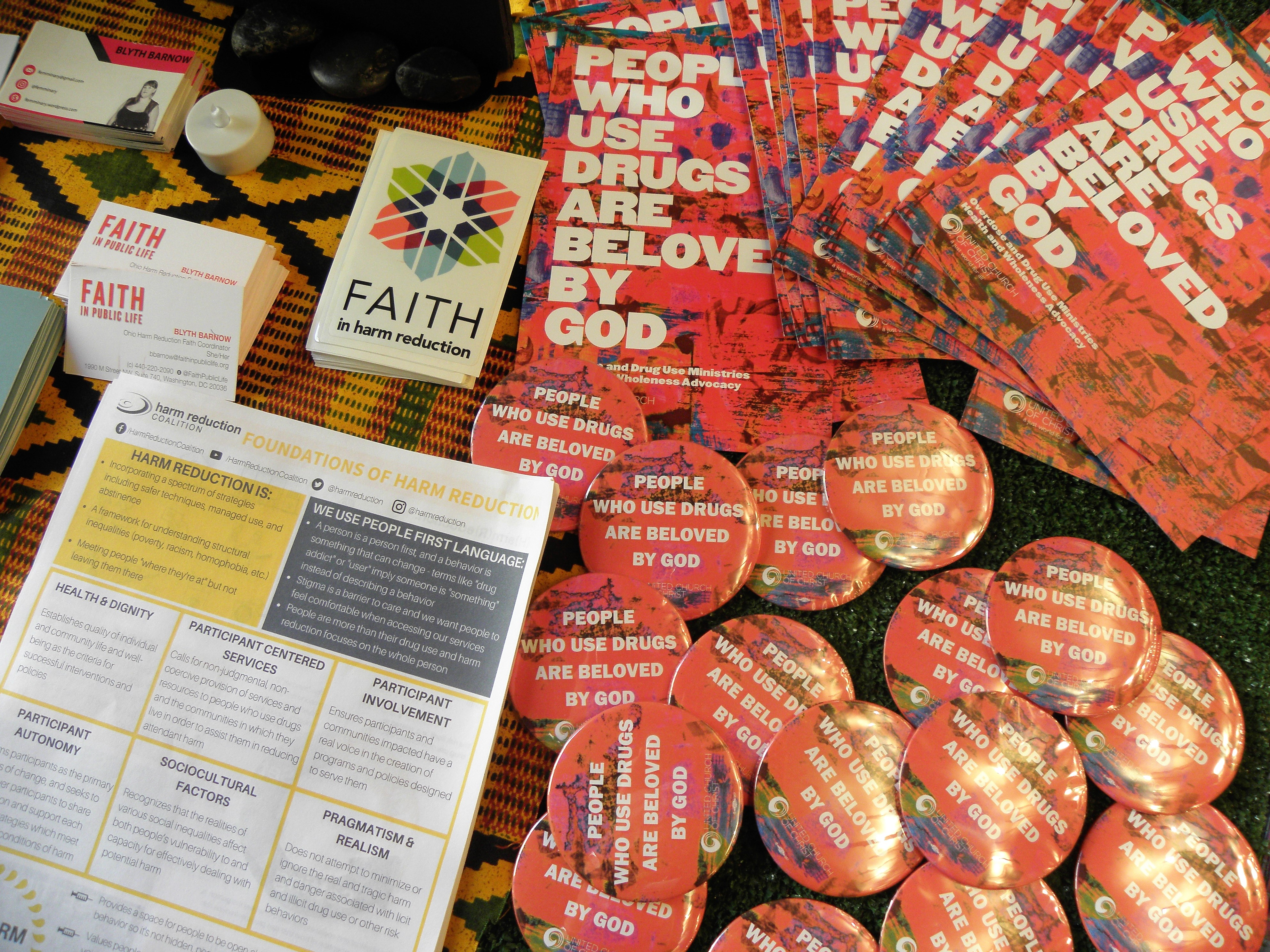 Buttons and literature, Amistad Chapel, 8/25/19