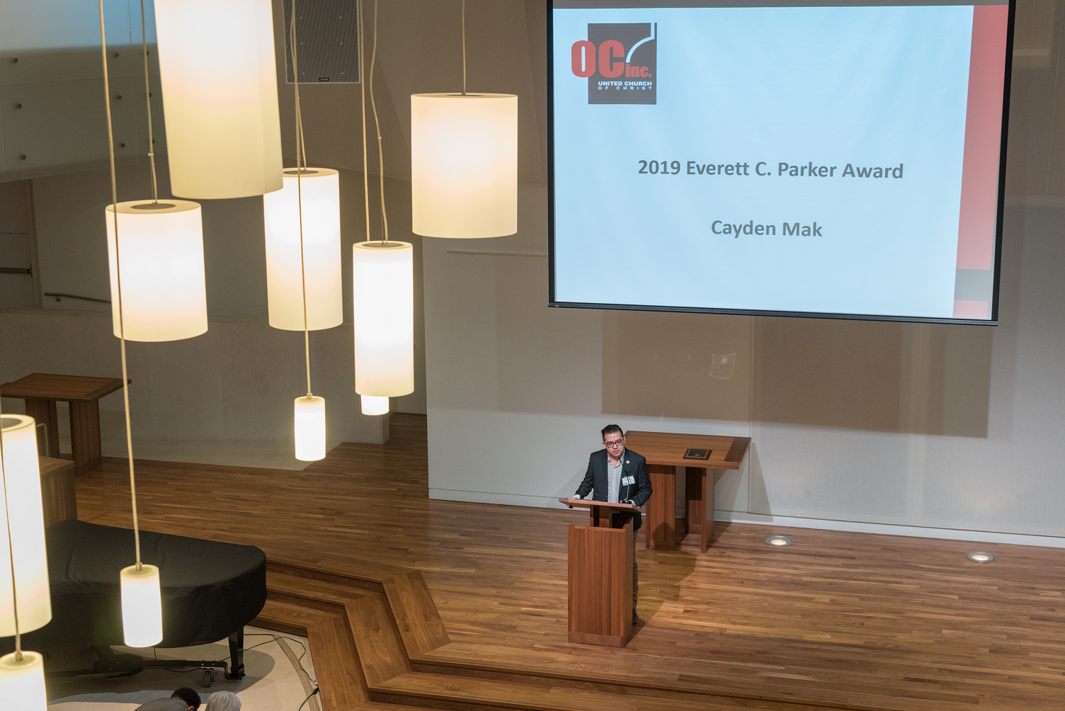 Cayden Mak speaking at Parker Lecture 2019