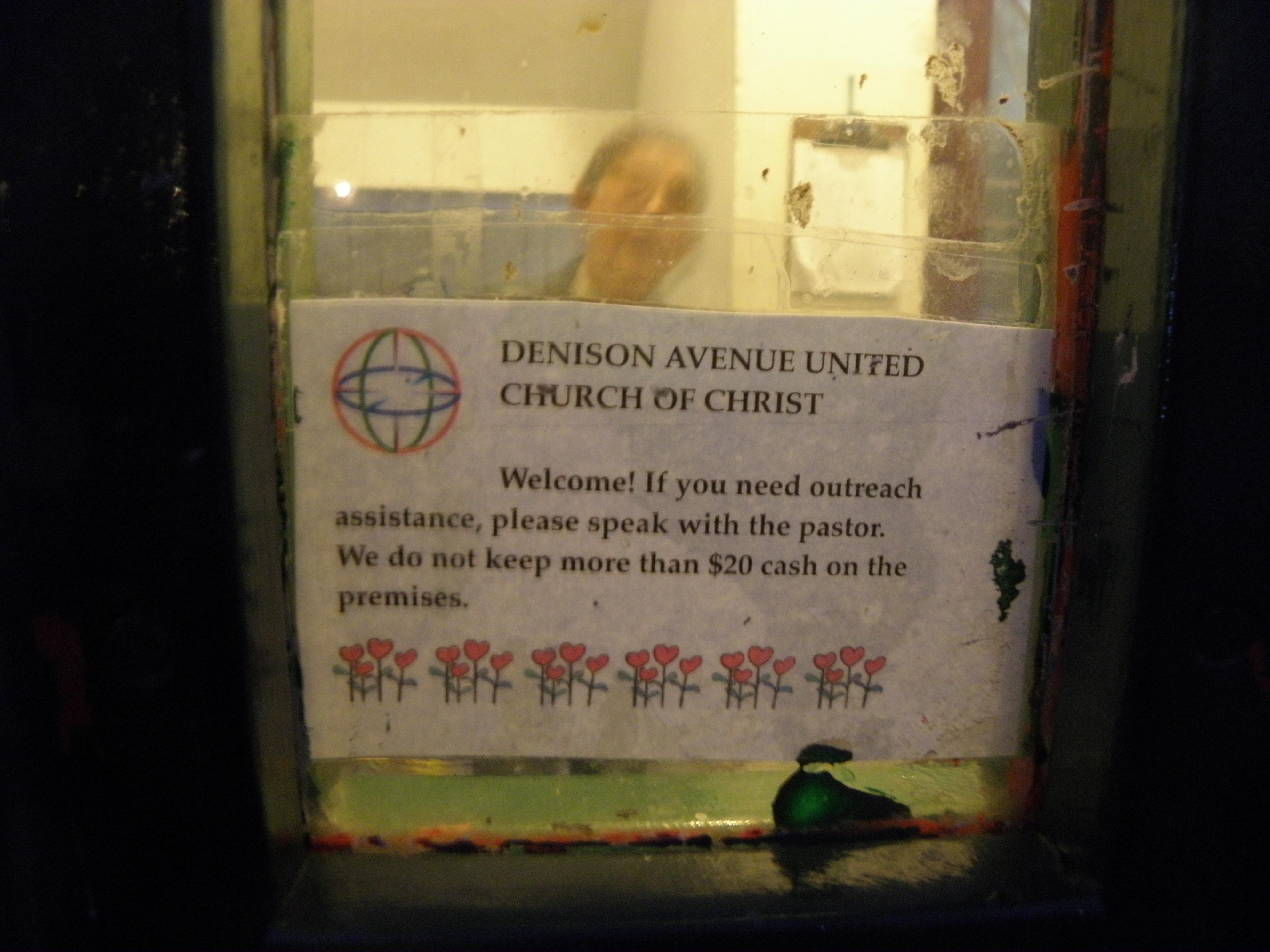 Window in door at Denison Ave. UCC, 12/17/19