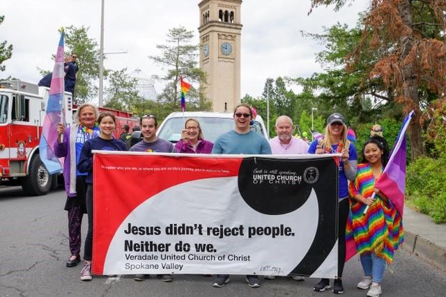 Veradale UCC pride parade participants