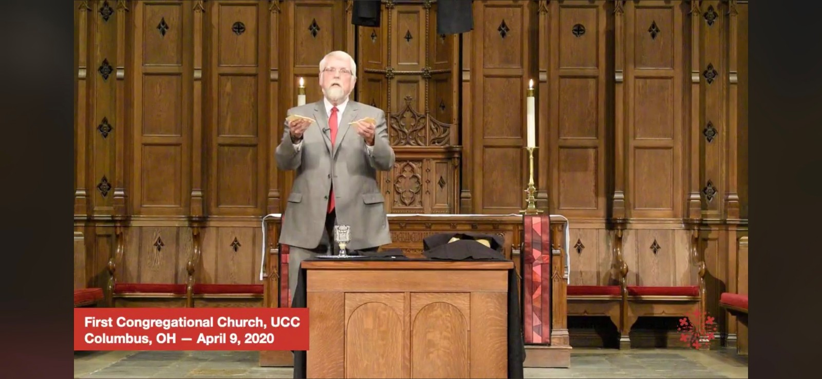 Abolitionist Communion table, 1st Congregational UCC, Columbus, 4/9/20