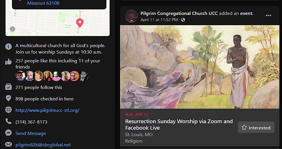 Pilgrim St. Louis Easter Zoom worship promo 4/12/20