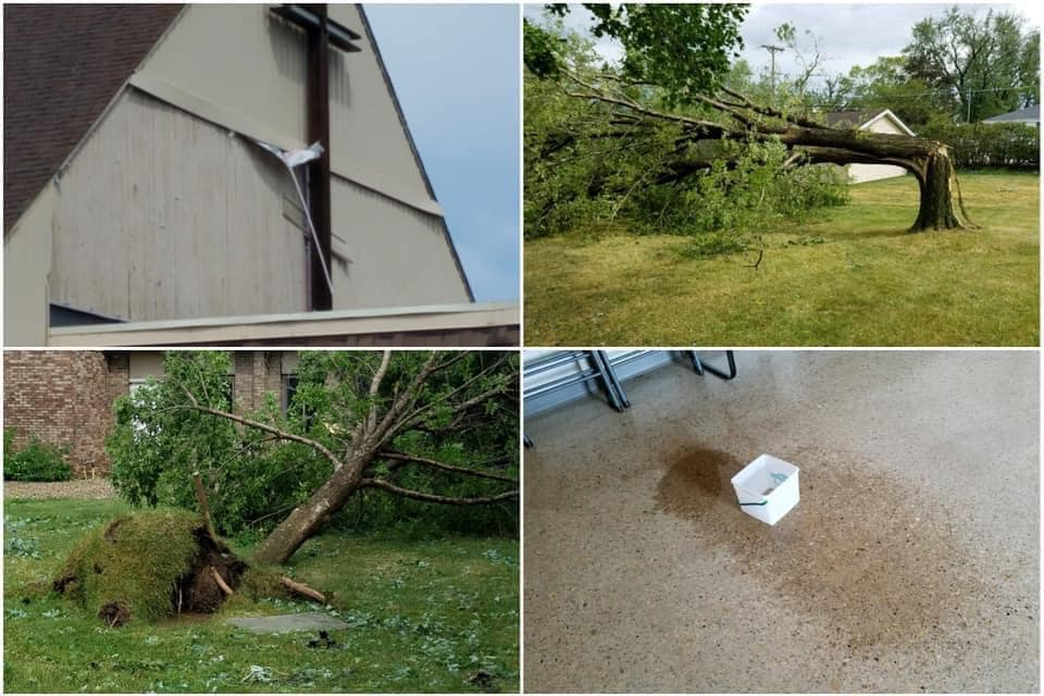 Derecho damage at Hope UCC, Hiawatha, Iowa, Aug. 2020