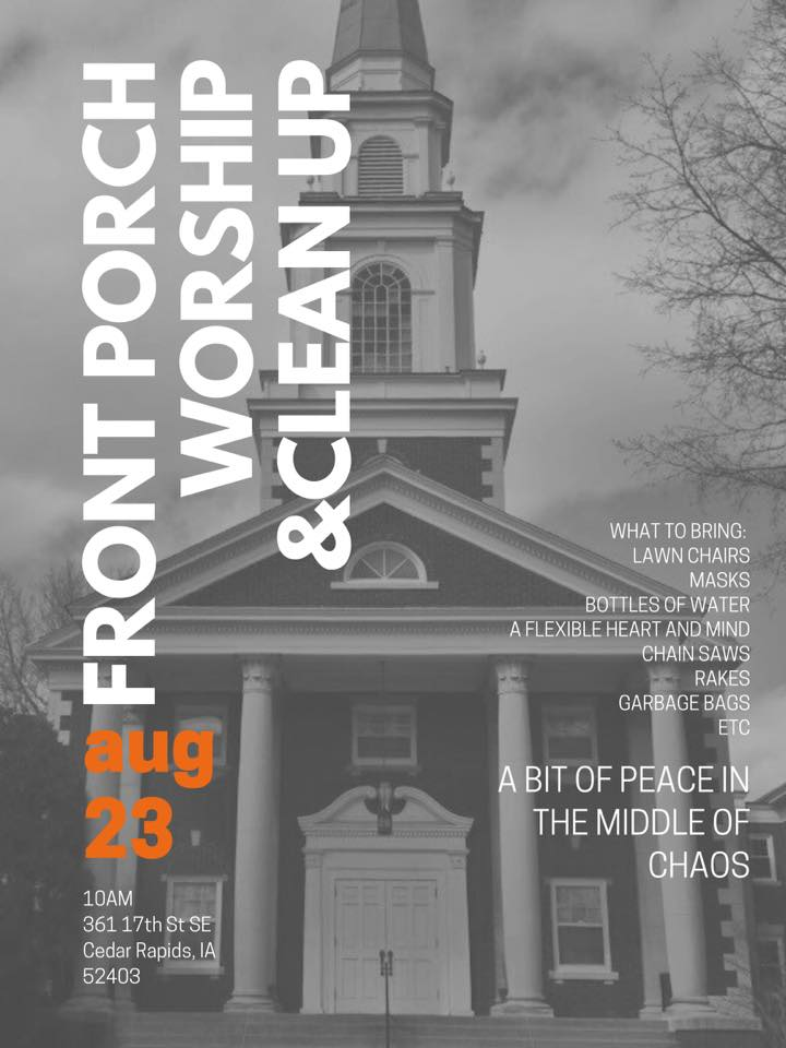 Front porch worship flier, Cedar Rapids, Iowa, Aug. 2020