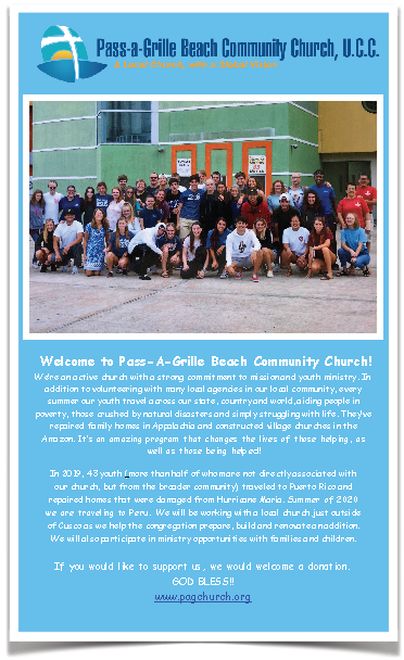 Pass-A-Grille UCC youth mission trip flier