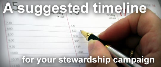 A suggested timeline for your stewardship campaign