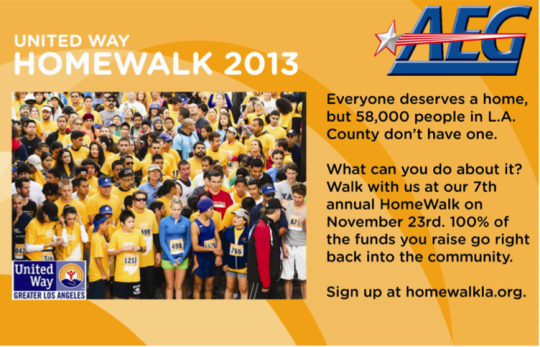 AEG is once again a proud sponsor of United Way's HomeWalk in 2013!