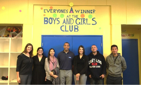 Dana Schneider (United Way), Christine Kahn, Rachelle Prasertsit, Josh Jones, Lupe Viramontes, Jimmy Perez, and Lenny Marron at Boys and Girls Club on October 23.