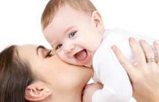 Happy baby with mum