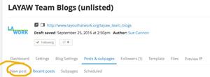 New Blog Page Select