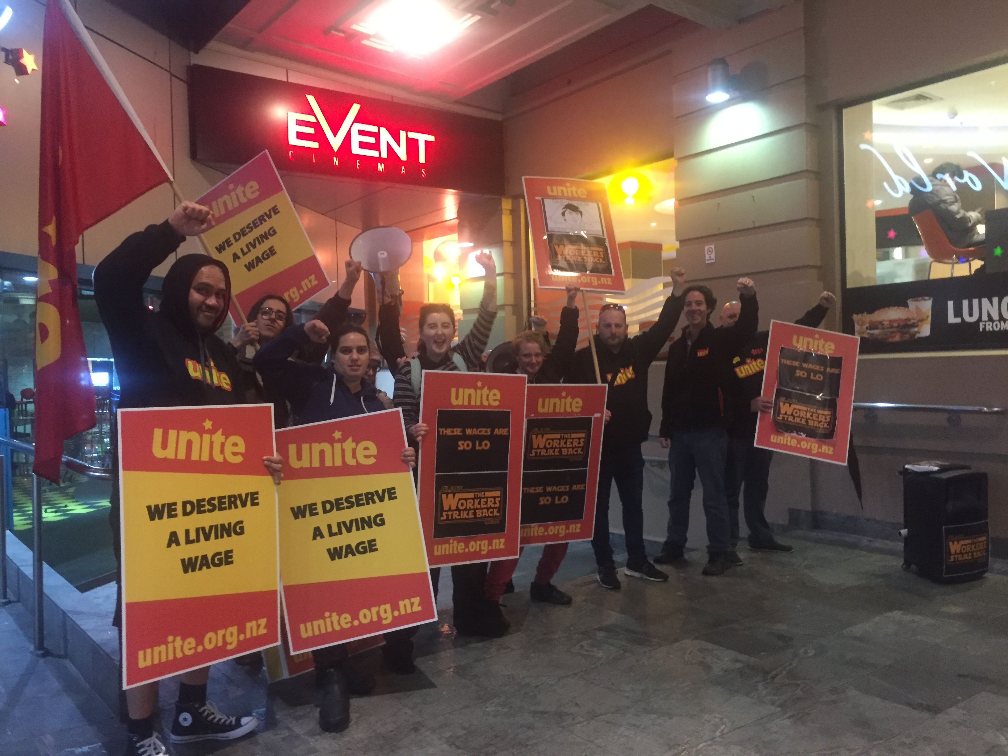 Strike action Tuesday night at star wars opening in Auckland Central