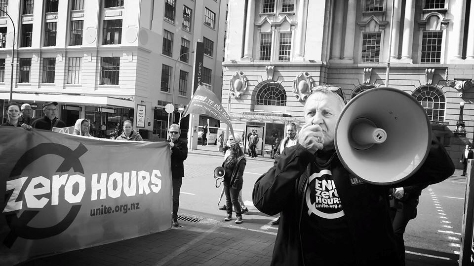 Unite National Director Mike Treen speaking to anti-zero hours strike in 2015