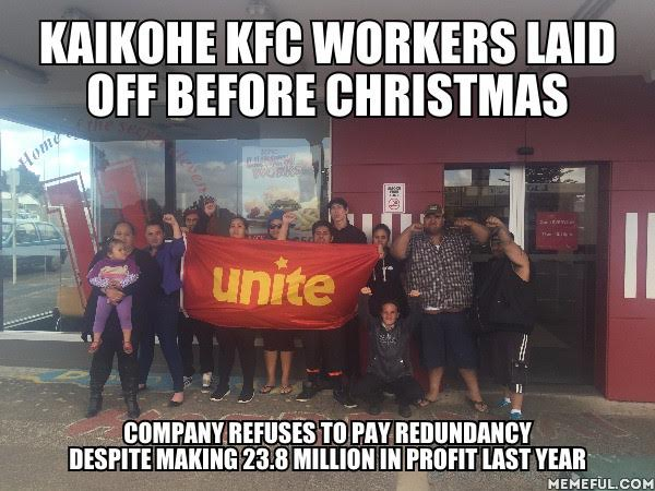 KFC Kaikohe. Workers laid off. Pickets on.