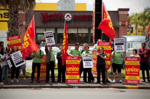 Wendy's workers protest theft of holidays (Photo by Jos Wheeler)