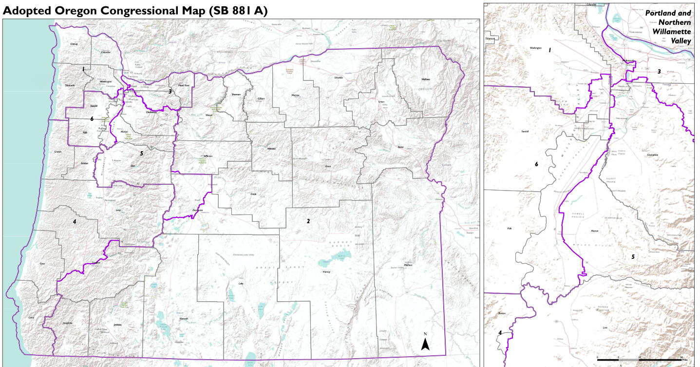 Map of Oregon showing newly adopted congressional districts.