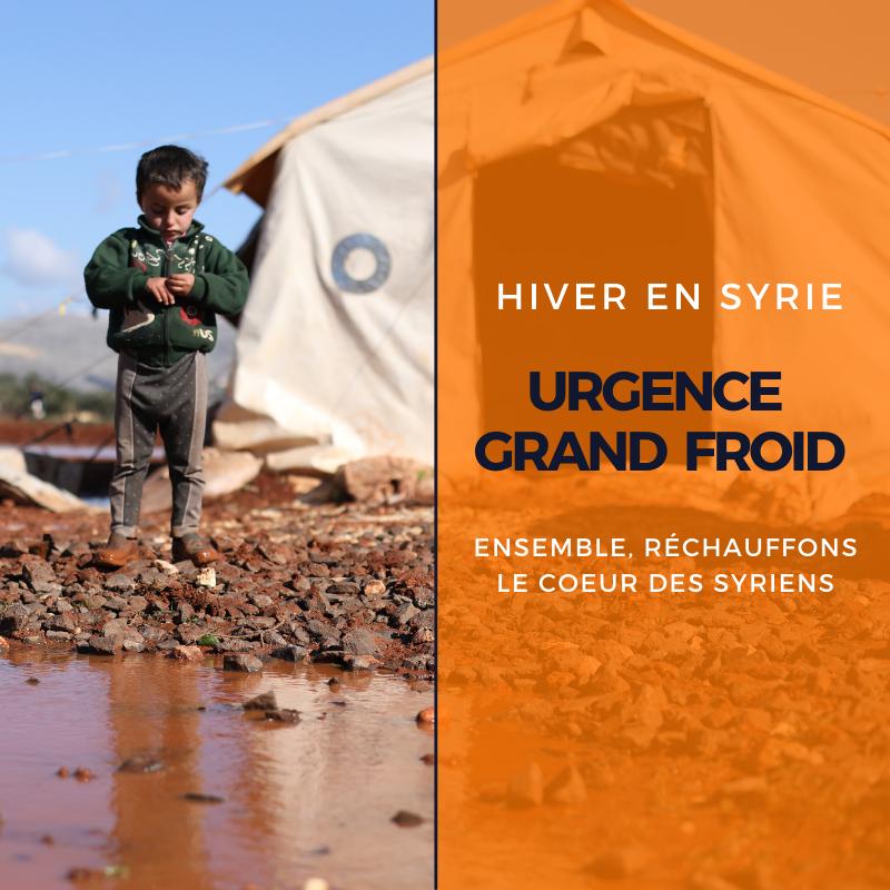 Enfant dans un camp en hiver en Syrie