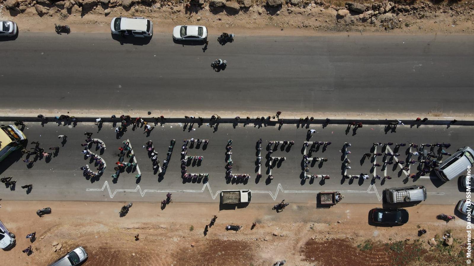Save Life Line protestation pour le renouvellement du dernier couloir humanitaire