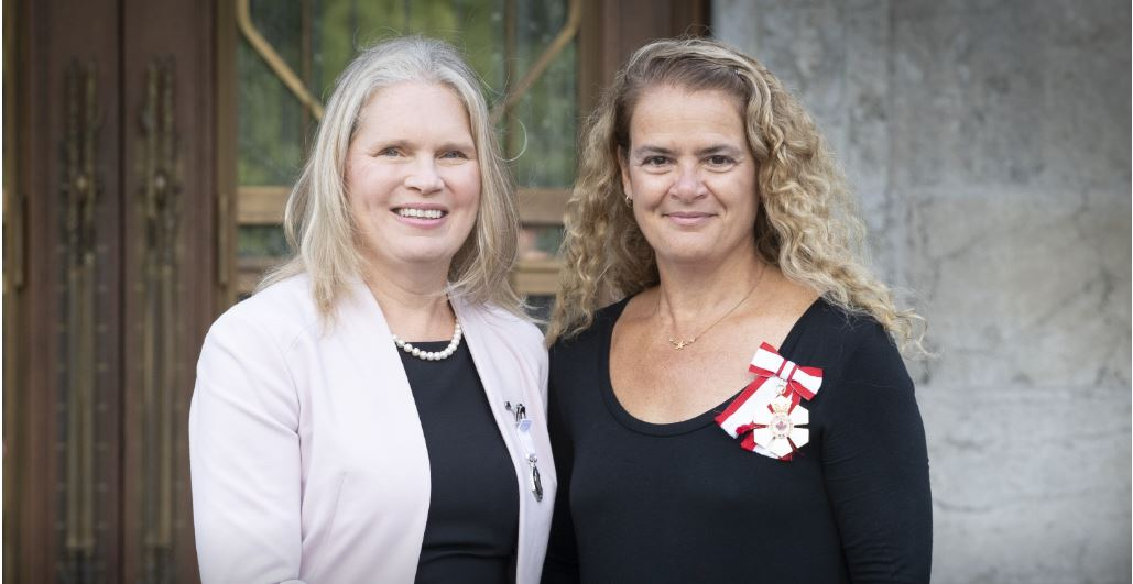 Susan Chatwood (left) receiving the Governor General's 2019 Polar Medal from Gov. Gen. Julie Payette (photo courtesy of the Office of the Governor General)
