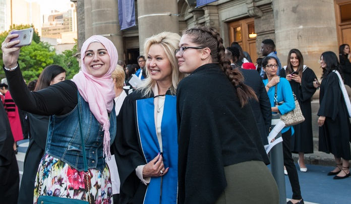 Mississauga Mayor Bonnie Crombie attends graduation ceremonies at Convocation Hall.