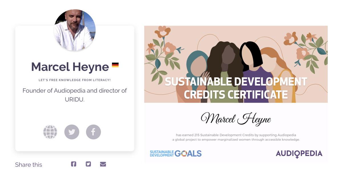Sustainable Development Credits Certificate