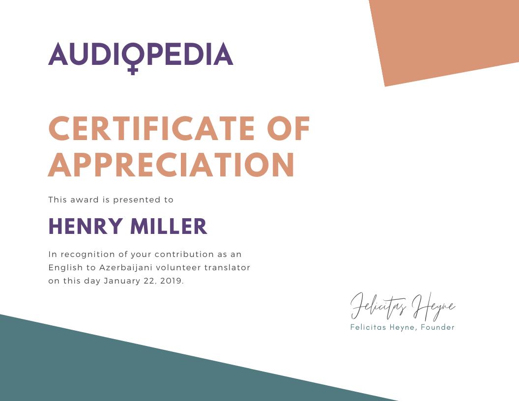 Audiopedia Certificate of Appreciation