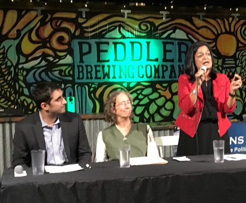 Brady Walkinshaw and Pramila Jayapal at candidate forum